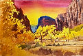 Watercolor painting of Zion National Park by Colette Pitcher