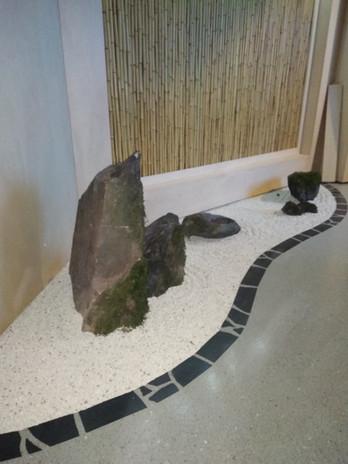 Grey limestone seamless resin floor & stone garden design, Japanese Restaurant