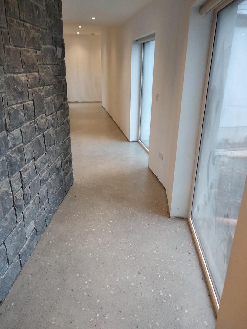 seamless resin floor, hallway, grey limestone