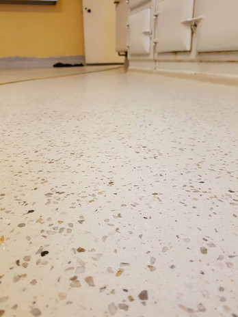 White limestone Dekoscreed seamless resin floor, Careysville House