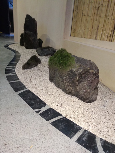 Grey limestone seamless resin flooring, Stone Garden Design