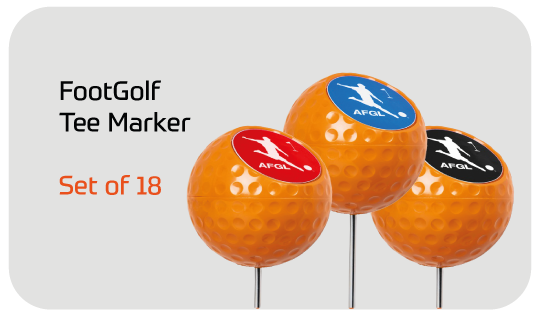 FootGolf Tee Marker - Set of 18 - Orange Ball Design with FootGolf Decal