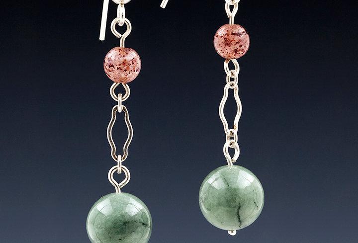 Strawberry Quartz and Burmese Jade Drop Earrings
