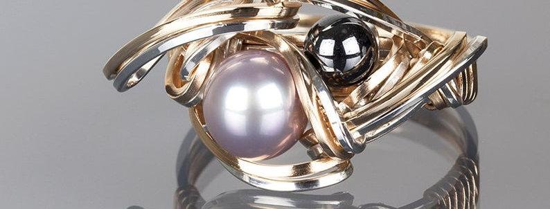 Purple Pearl and Hematite Ring