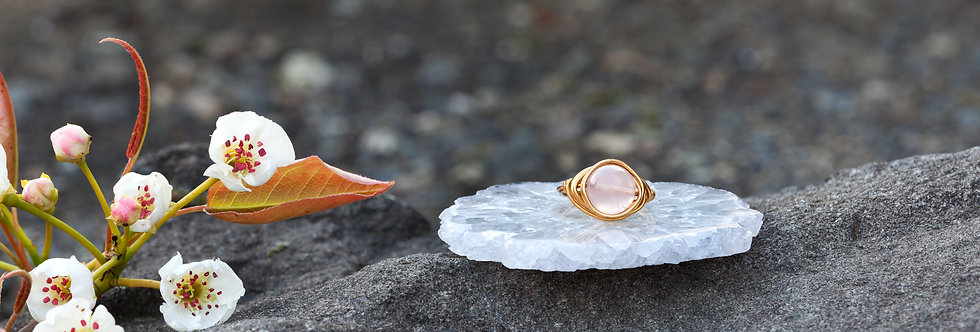 Rose Quartz Wire Wrapped Ring