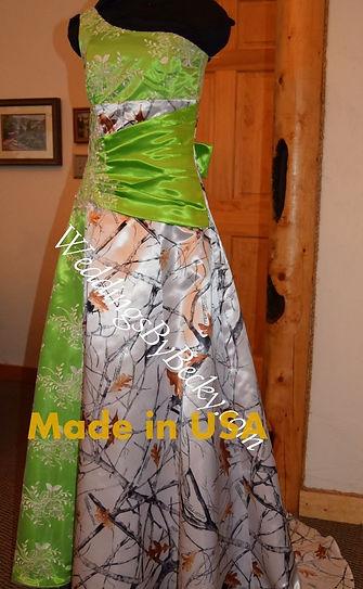 Camo and lime green wedding dress