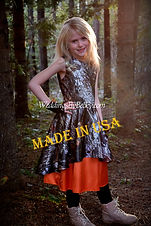 Mossy Oak Breakup camo and orange flowergirl dress