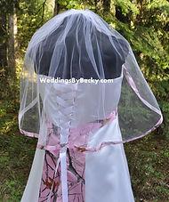 Pink camo ribbon wedding veil