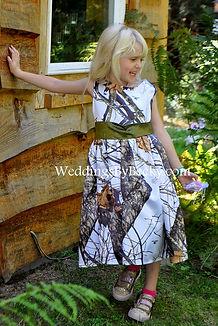 Mossy Oak Winter camo flowergirl dress