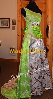 One shoulder camo wedding dress