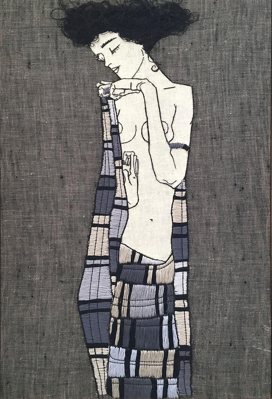 Egon Schiele. Standing Girl in Plaid Garment. 1910.