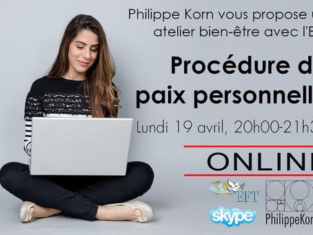 Lundi 19 avril: procédure de paix personnelle avec l'EFT, par SKYPE