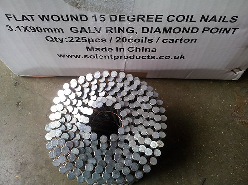 3.1 x 90mm Galvanised Ring Coil Nails
