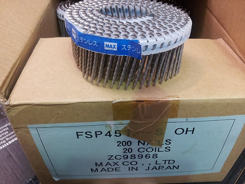 Max 45mm Plastic Collated Stainless Steel Coil Nails