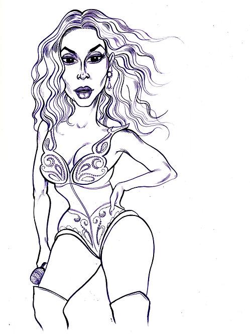 Beyonce , Purple Ink Drawing
