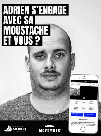 Adrien porte la moustache pour Movember