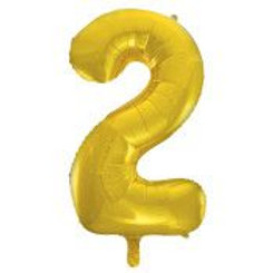 """Foil 34"""" Number Balloon - Gold 2"""