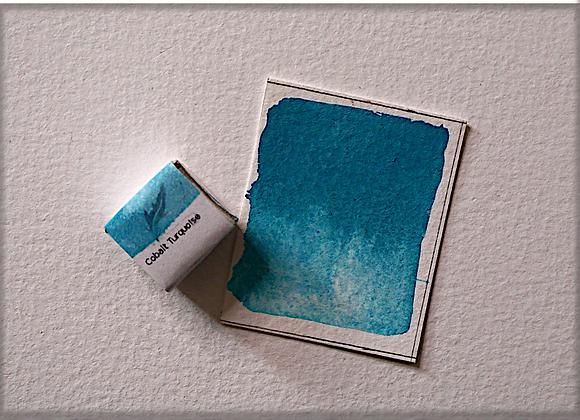 Cobalt Turquoise Handmade Watercolour Half Pan