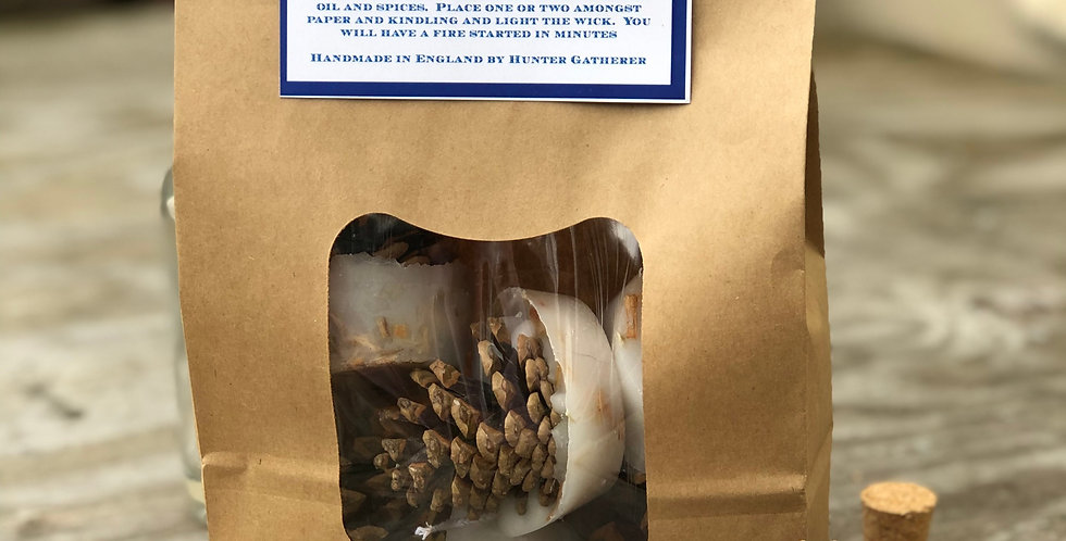 Bag of 6 Cinnamon Scented Kindle Cone Firelighters