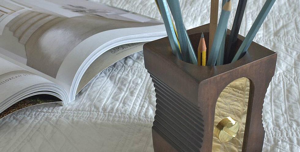 Dark Wood Personalised Sharpener Pen Pot Desk Tidy