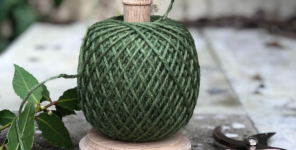 Oak Garden Twine Holder with Ball of Green Jute