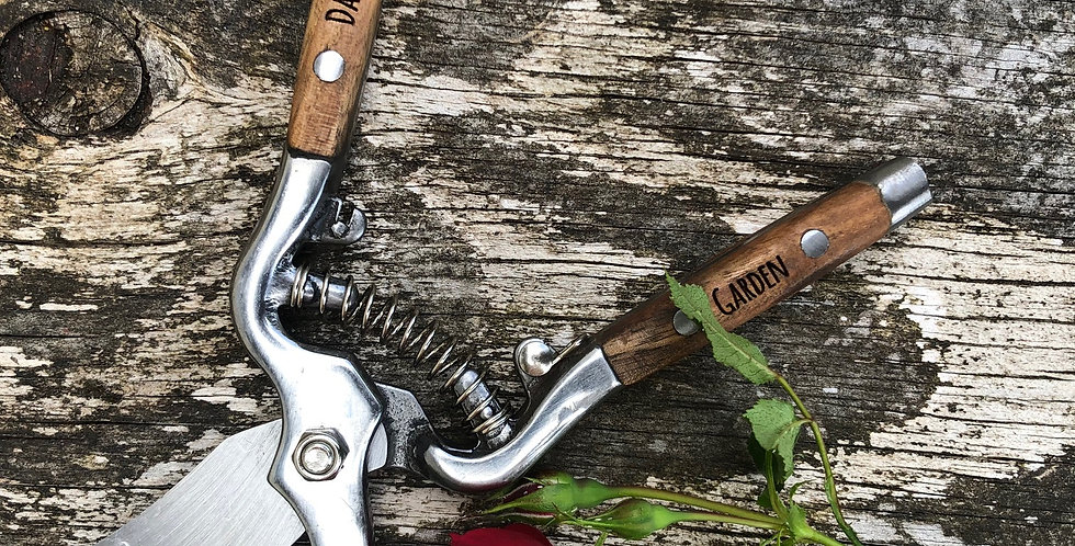 Wood and Steel Personalised Pruners Secateurs Garden Clippers