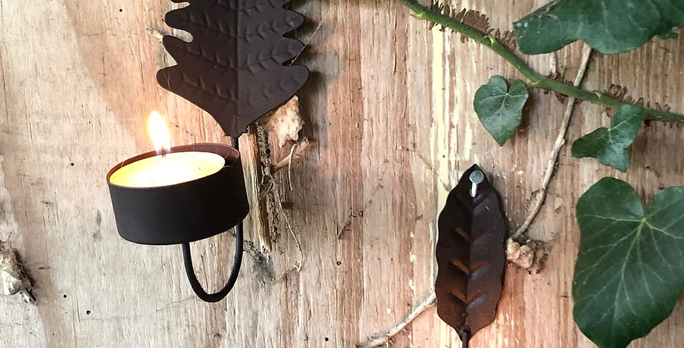 Set of Two Rusted Leaf TeaLight Holders