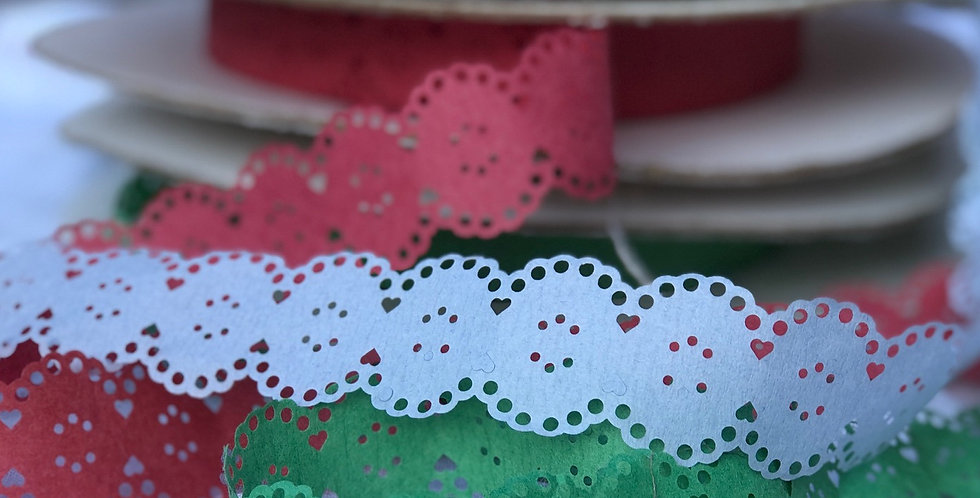 Vintage Red and Green Paper Lace Ribbon