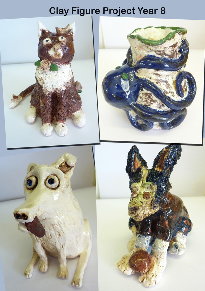 Year 8 Clay Figure Fired Pieces