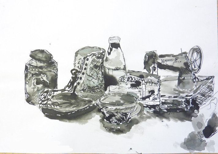 Coursework Still Life Ink Drawings