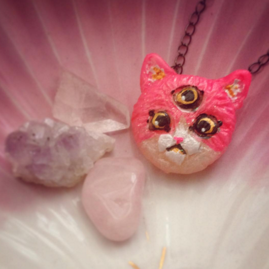 Cosmic Cat Resin Pendant