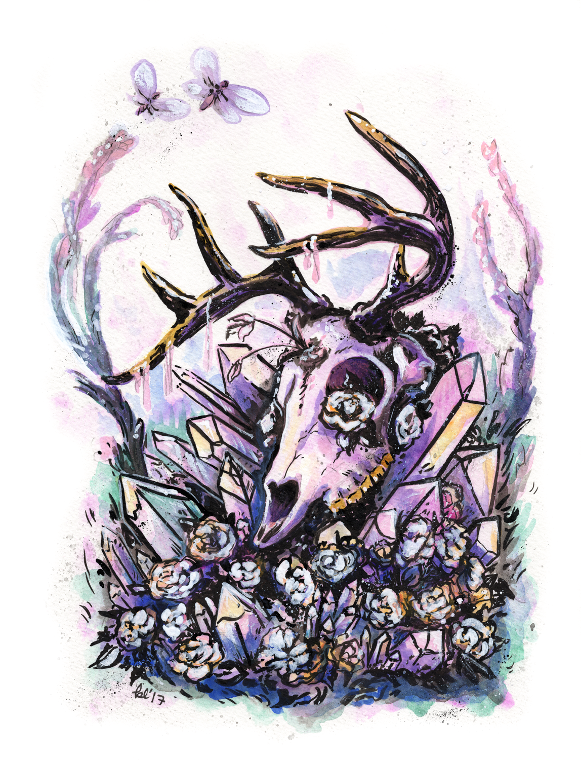 Crystal Deer Skull