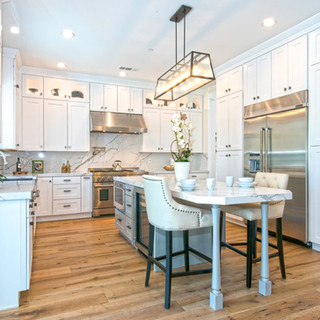 white and marble custom kitchen remodel