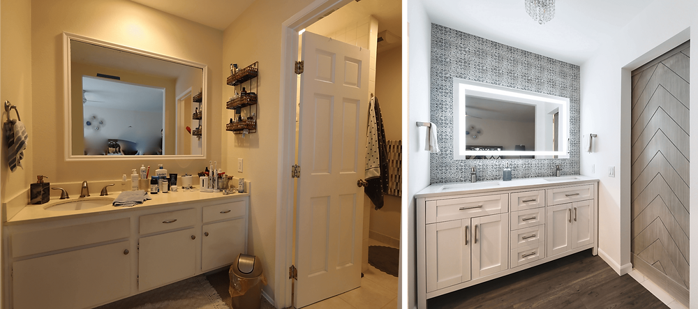 Before and after of a bathroom vanity renovation