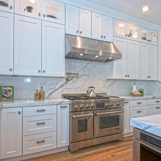 Transitional White Marble Kitchen Remodel