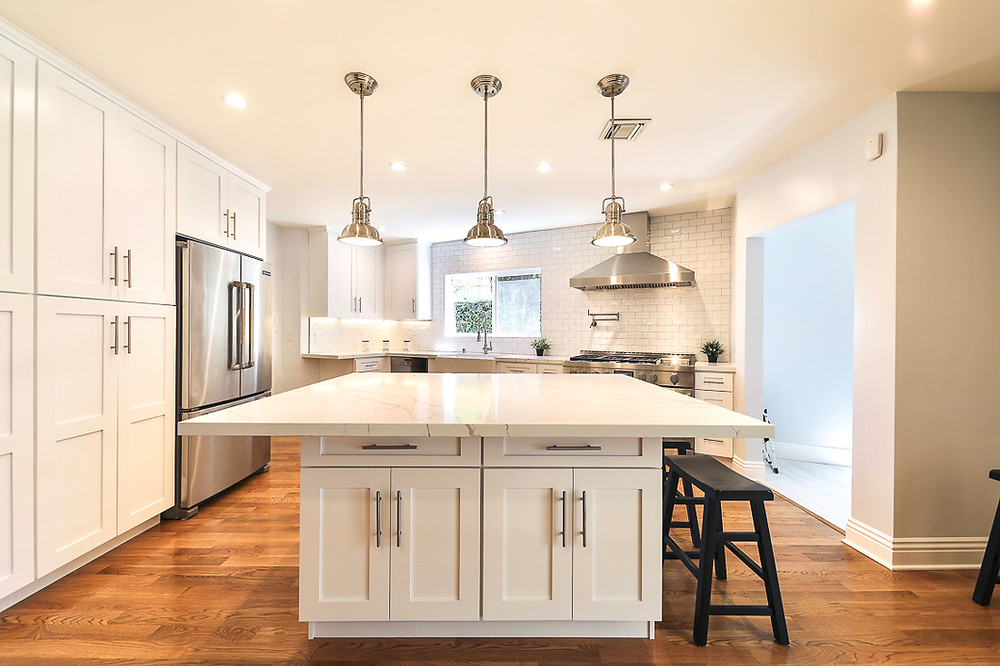 White Kitchen Remodel by Los Angeles General Contractor