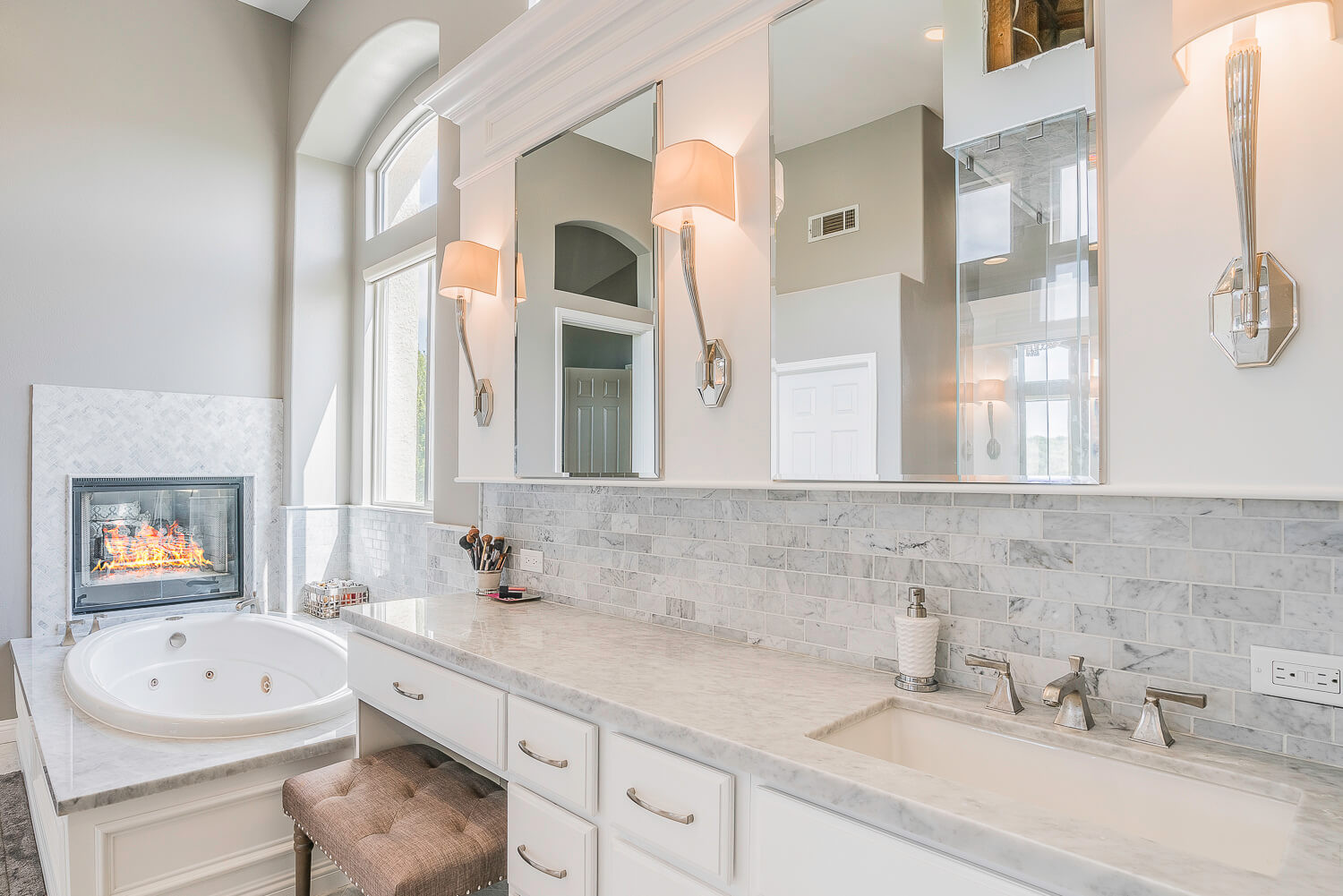 Marble Bathroom Remodel with Fireplace &
