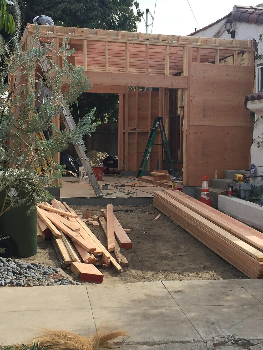 construction of a home addition in los angeles, ca