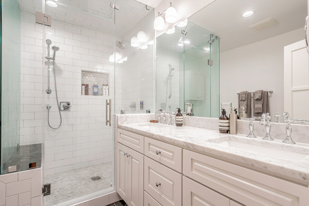 White Marble Bathroom Remodel by Los Angeles General Contractor