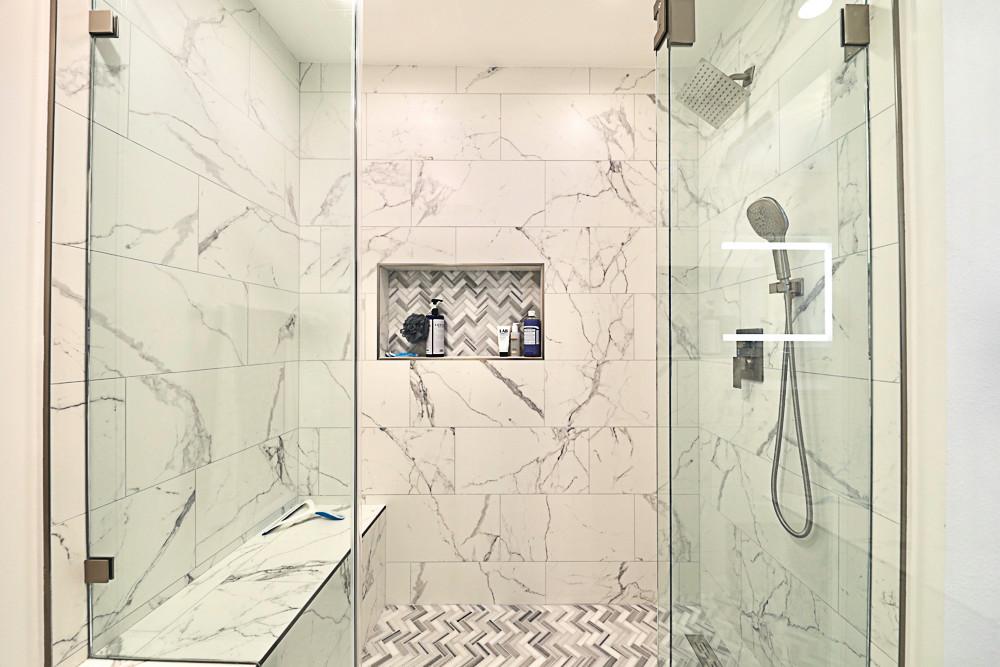 Luxury white marble shower design