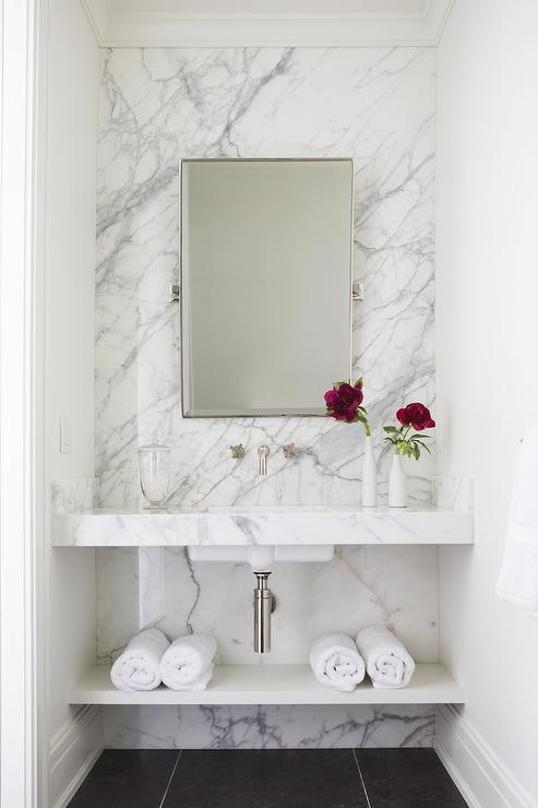 stunning marble wall in bathroom