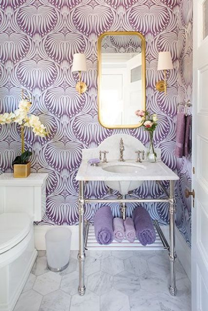 glamorous bathroom with bold wallpaper in purple