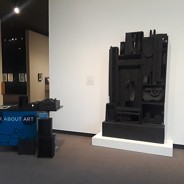 Art Cart display next to Louise Nevelson Lunar Landscape at the Amon Carter Museum