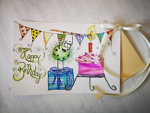 """Geburtstagskarte Happy Painting """"Geburtstag""""."""