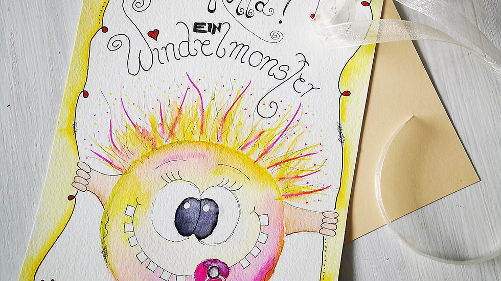 "Geburtskarte Happy Painting "" Baby""."