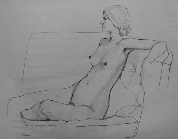 woman sitting on a settee