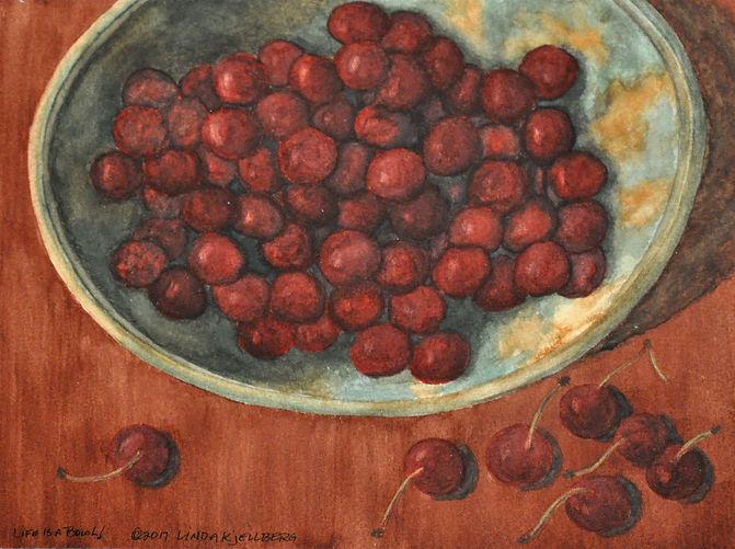 copper bowl of cherries