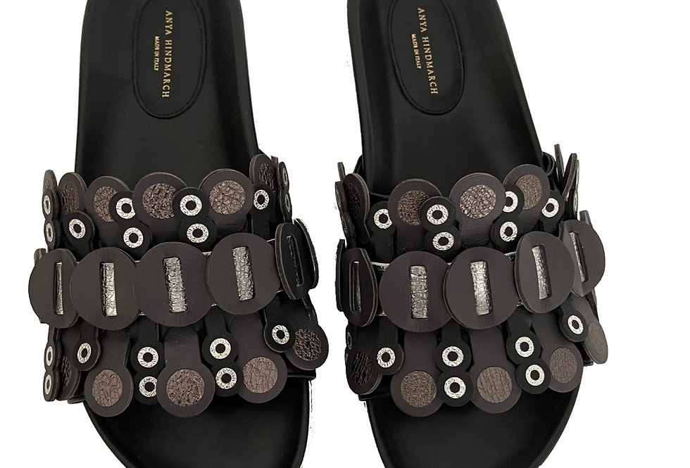 Anya Hindmarch slip on sandals in black