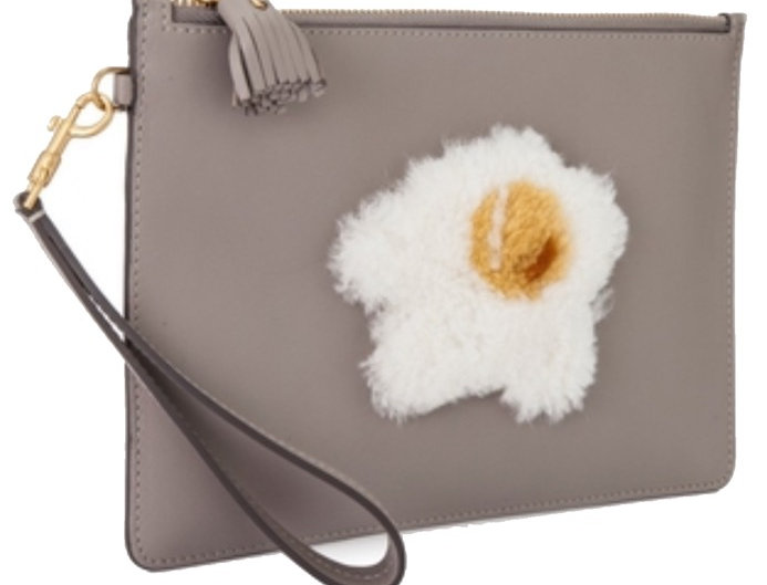Anya Hindmarch Egg Zipped Top Pouch Bag in Light Grey