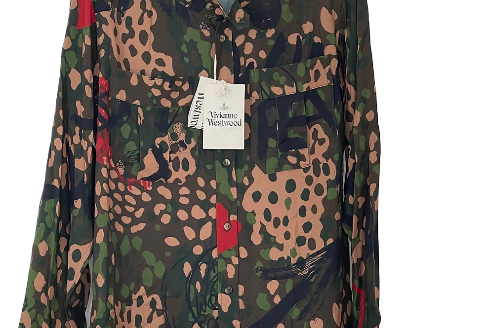 VIVIENNE WESTWOOD CAMOUFLAGE LOW NECK GREEN SHIRT